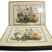 Pimpernel Place Mats Set of 12 and Casserole Stand Trivet New in Box Traditional Collection Meadow Flowers Botanical