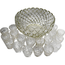 Anchor Hocking Waterford Waffle Punch Set Bowl 18 Cups Depression Glass Clear