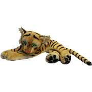 Steiff Tiger Cub Lying Vintage Green Glass Eyes 1950s-70s Large