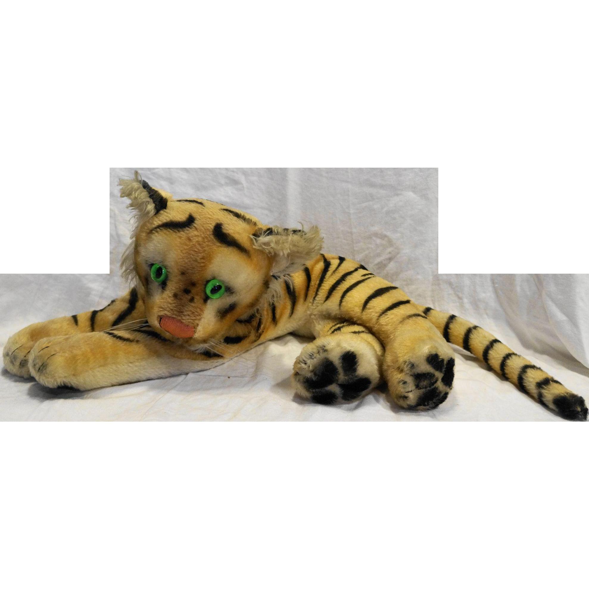 Steiff Tiger Cub Lying Vintage Green Glass Eyes 1950s-70s Large