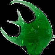 Emerald Green Art Glass Angel Fish Figurine Italy 9 5/8 IN 1988