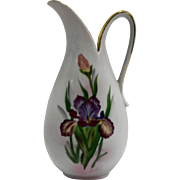 Iris Hand Painted Porcelain Pitcher Vase Ewer