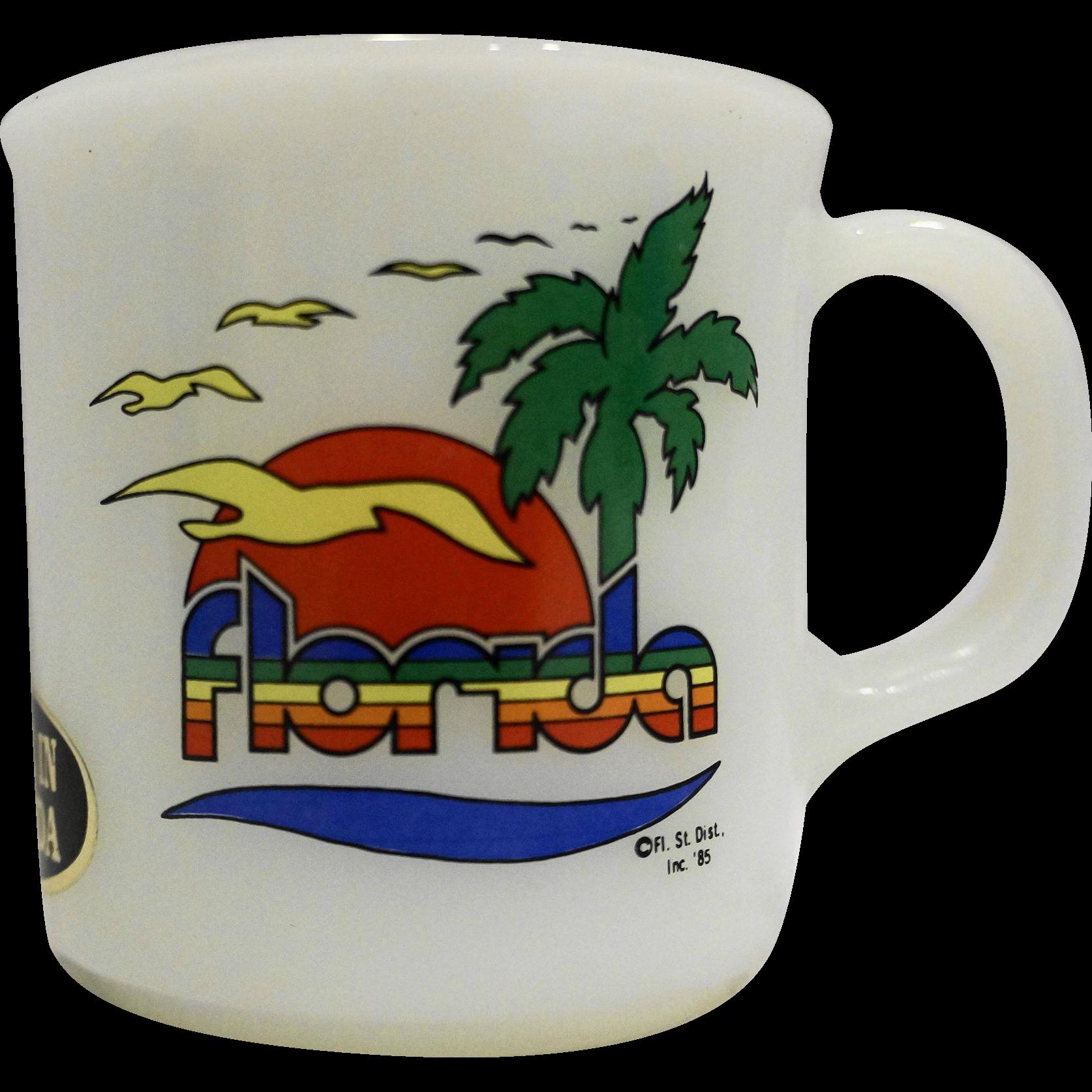 Florida Souvenir Milk Glass Mug Ovenproof USA 1985