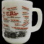 Fire King C.B.'er White Milk Glass Mug