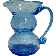 Sky Blue Crackle Glass Pitcher Art Glass