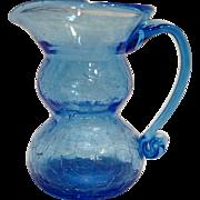 Sky Blue Crackle Glass Pitcher Art Glass