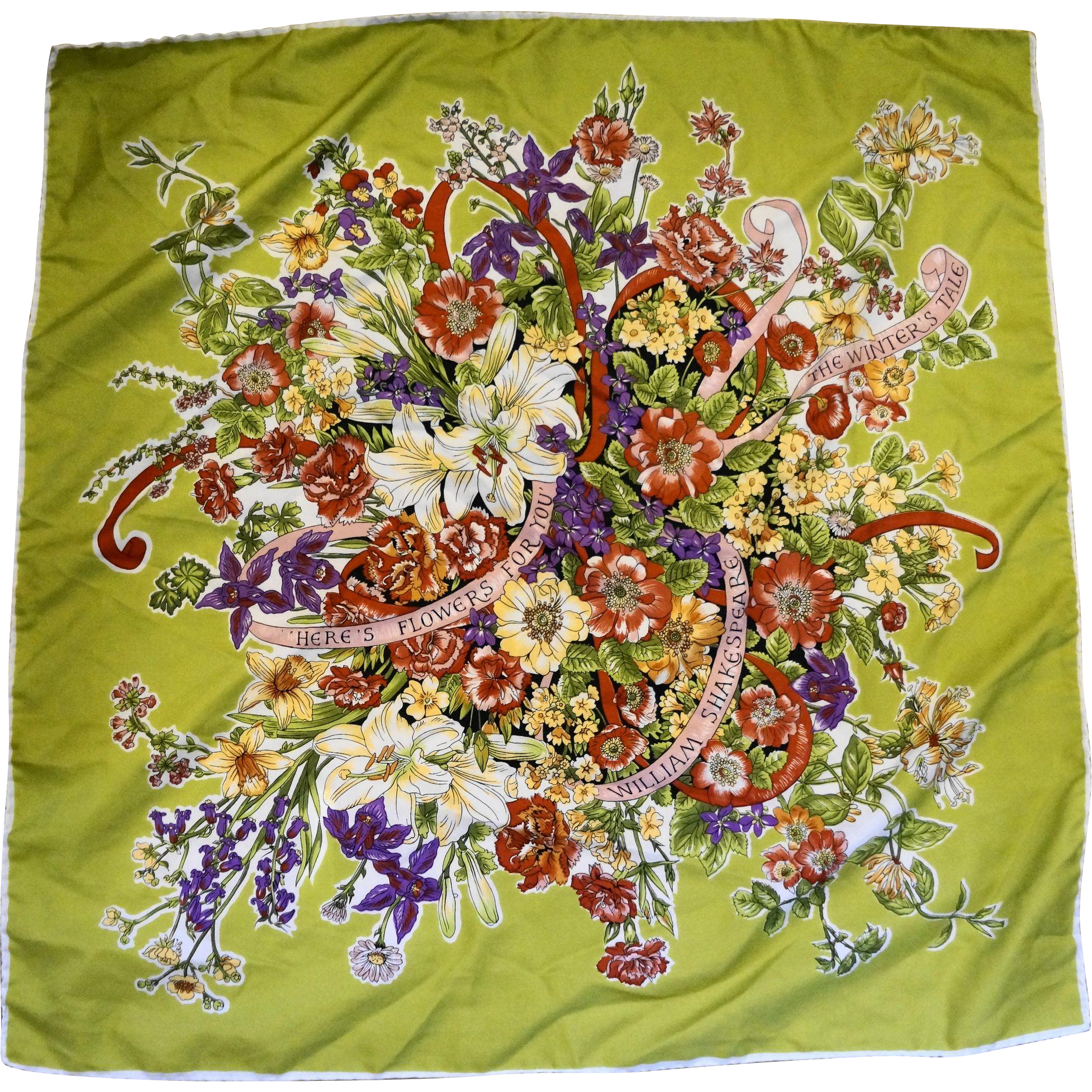 Floral Botanical Print Scarf Here's Flowers for You Shakespeare Quote 25 IN
