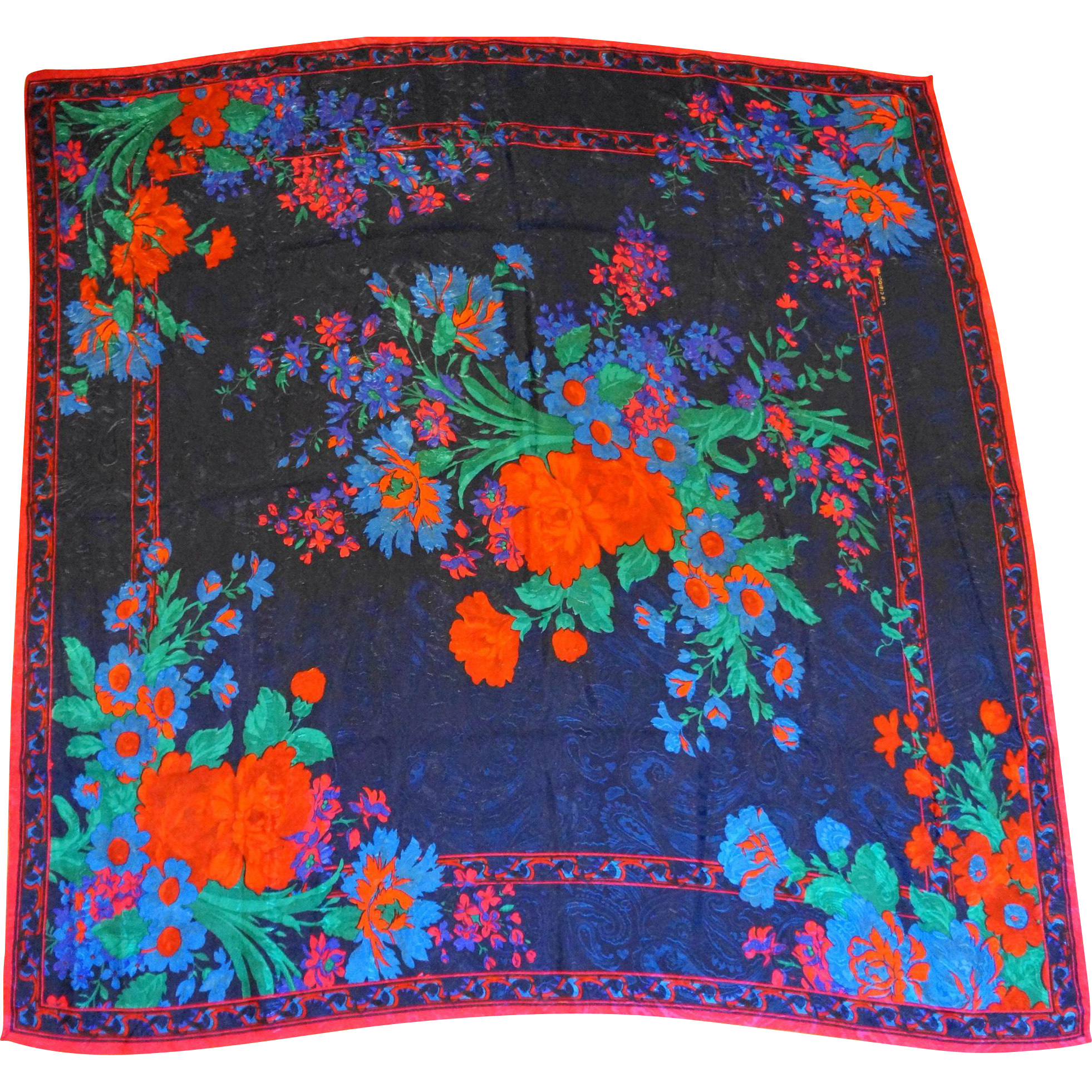 Liz Claiborne Floral Jacquard Polyester Scarf Dark Jewel Tones 33 IN Square