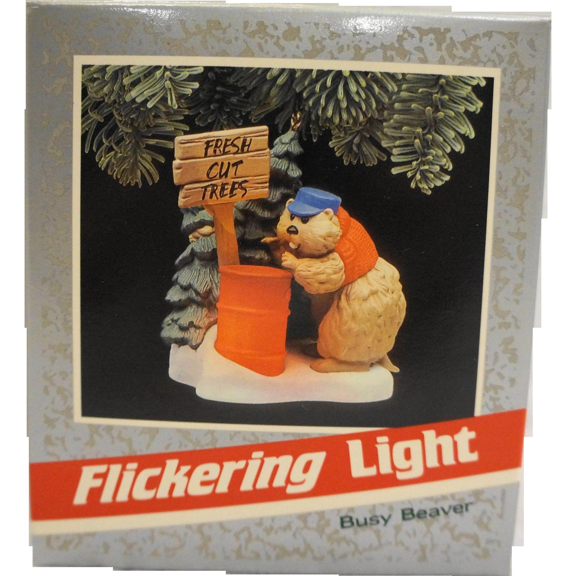 Hallmark Keepsake Magic Ornament Busy Beaver Flickering Lights NIB 1989