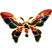 Butterfly Enamel Gold Tone Pin Rhinestone Eyes