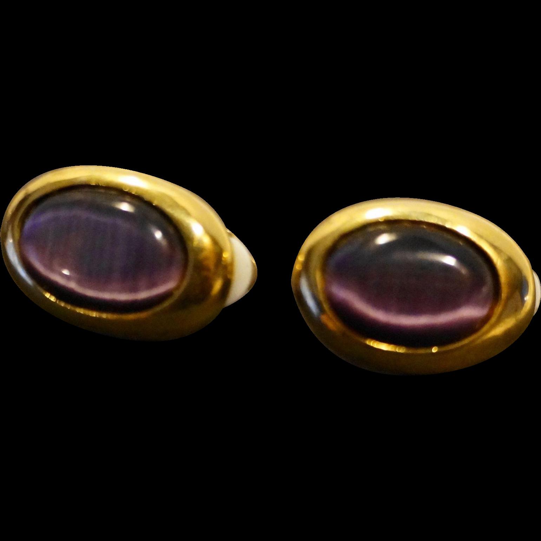 Purple Glass Cab Oval Gold Tone Clip Earrings
