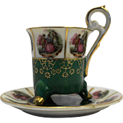 Fragonard Scene Demitasse Cup Saucer Porcelain Green Gold Pink