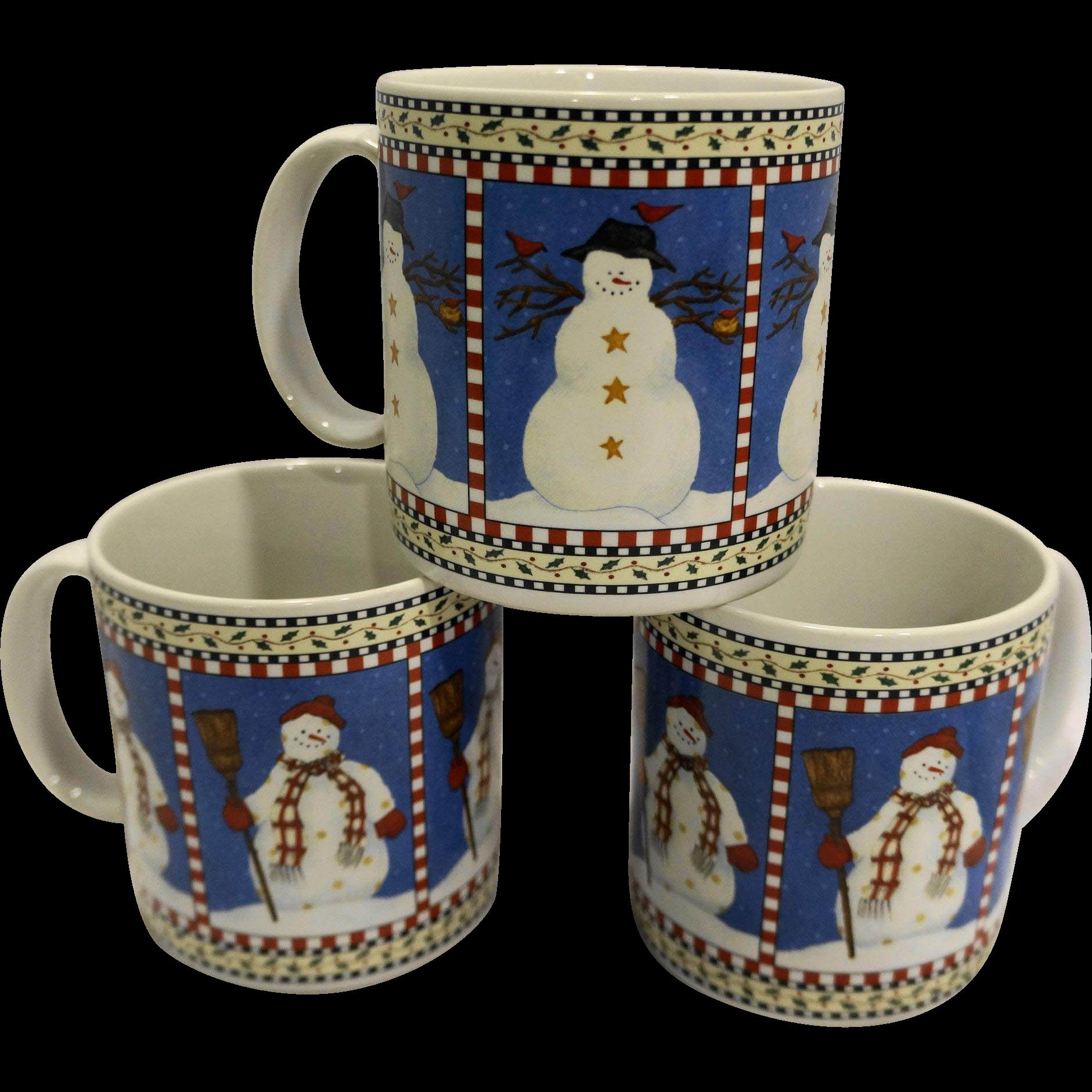 Debbie Mumm Snowman Sakura Oneida Mugs