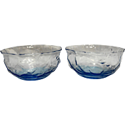 Morgantown Crinkle Light Blue Fruit Dessert Bowls Pair 4 IN