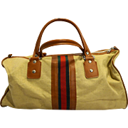 Mr Roberts Designer Luggage Canvas Twill Stripe Duffle Bag Khaki Beige 1970s