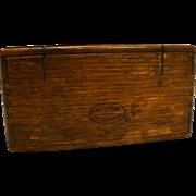 Antique Oak Dovetailed Wood Puzzle Box 1889 Singer Sewing Machine Parts Inside