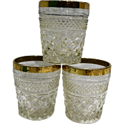 Anchor Hocking Wexford Gold Rim Old Fashioned Glasses Set of 3