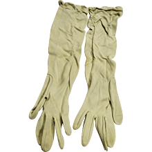 Cream Vintage Long Gloves Stretch Elbow Length 1930s-40s