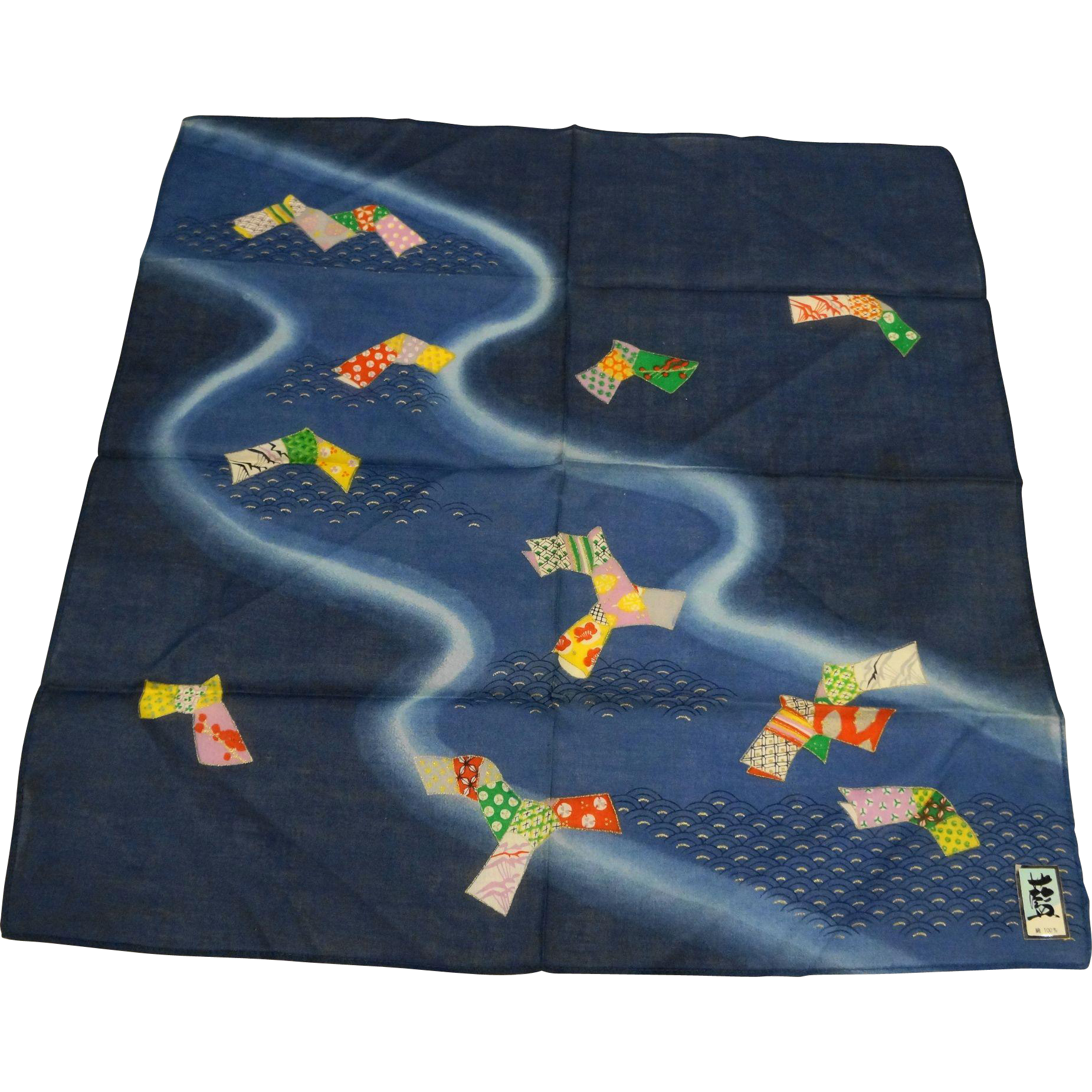 Japanese Kite Print Dark Blue Cotton Handkerchief New Condition