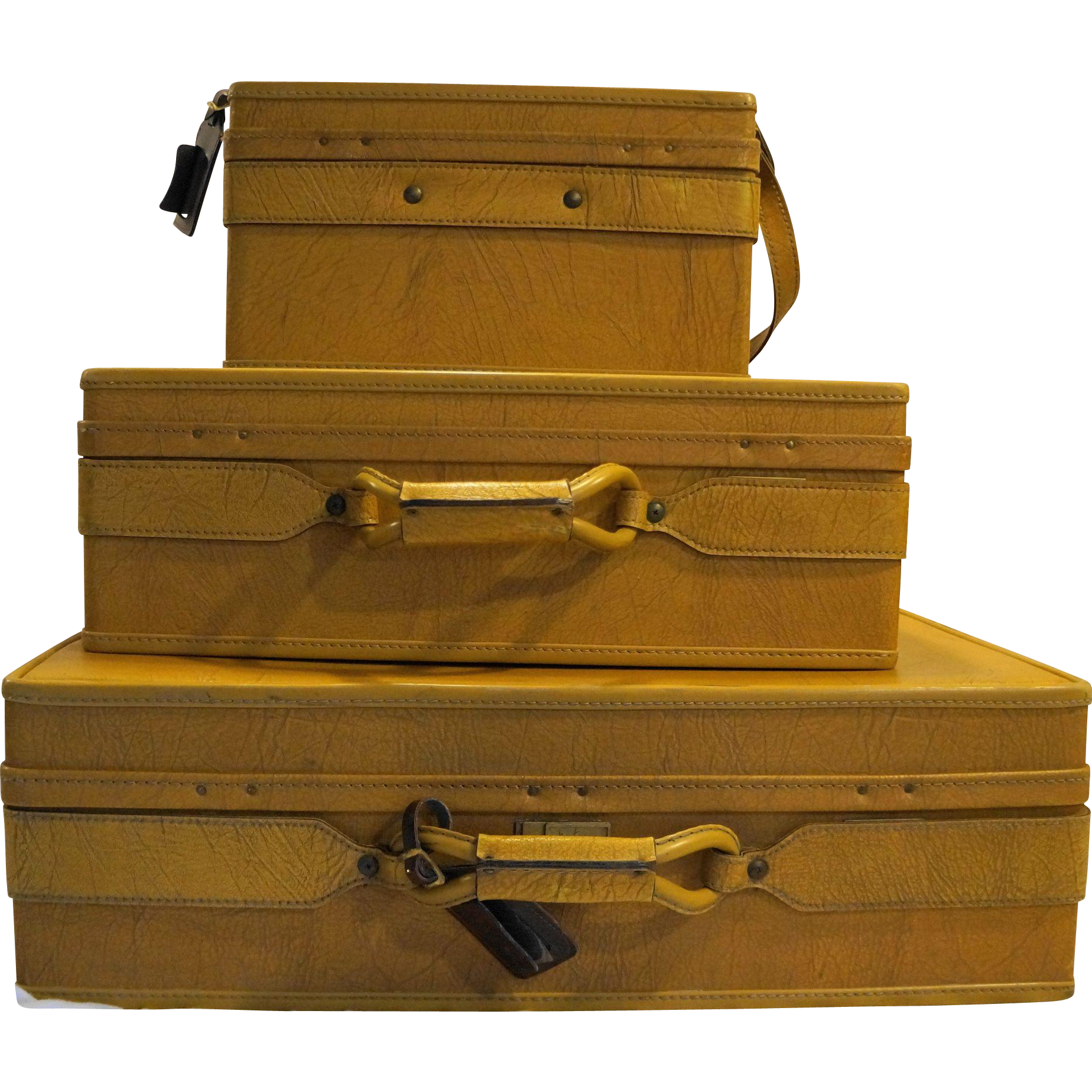 Hartmann Belting Leather Pullman Woodbox Vintage 1970s Golden Oak 3 Pieces Set Suitcases Carry On