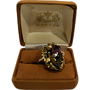 Purple Lucite Cab Rhinestone Baroque Style Gold Tone Cocktail Dinner Ring Strawberries Settings