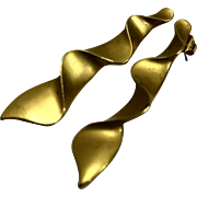 Gold Tone Wave Ribbon Long Dangle Earrings