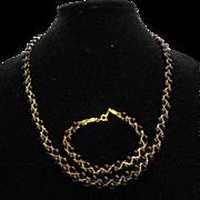 Black Beads Gold Tone Chain Braid Necklace Bracelet Set
