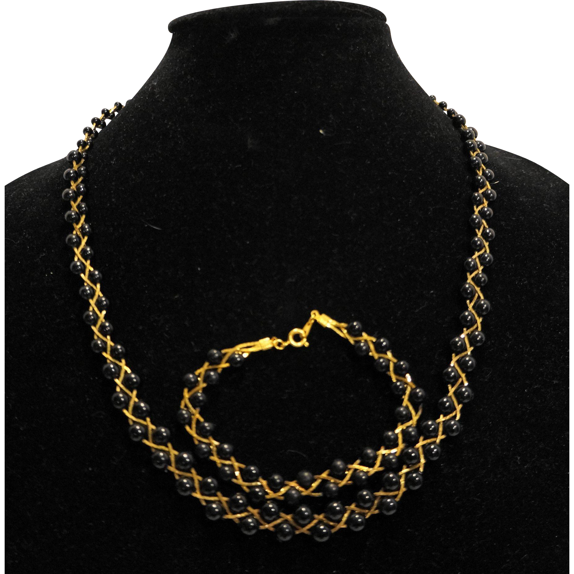 Black Beads Gold Tone Chain Braid Necklace Bracelet Set