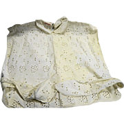 Vintage White Eyelet Dickie Blouse Front Rozanne Creation