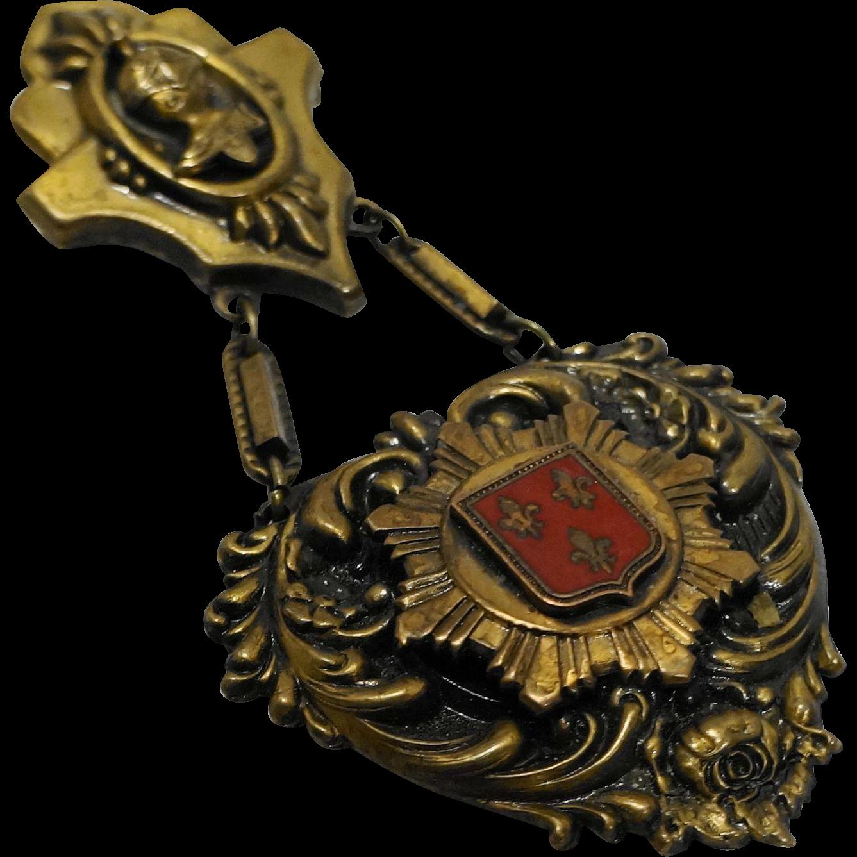 Vintage Brass Shield Crest Heraldry Pin Brooch Medal