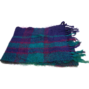 Suzanne Schwartz Mohair Scarf Muffler Handwoven Louisville KY Green Blue Purple Jewel Tones