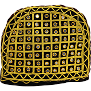 Burgundy Velvet Handmade Tea Cozy Embroidered Gold Cord Mirror Tiles Discs
