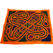 Bright Vintage Mola Feather Swirl Design Panama Folk Art
