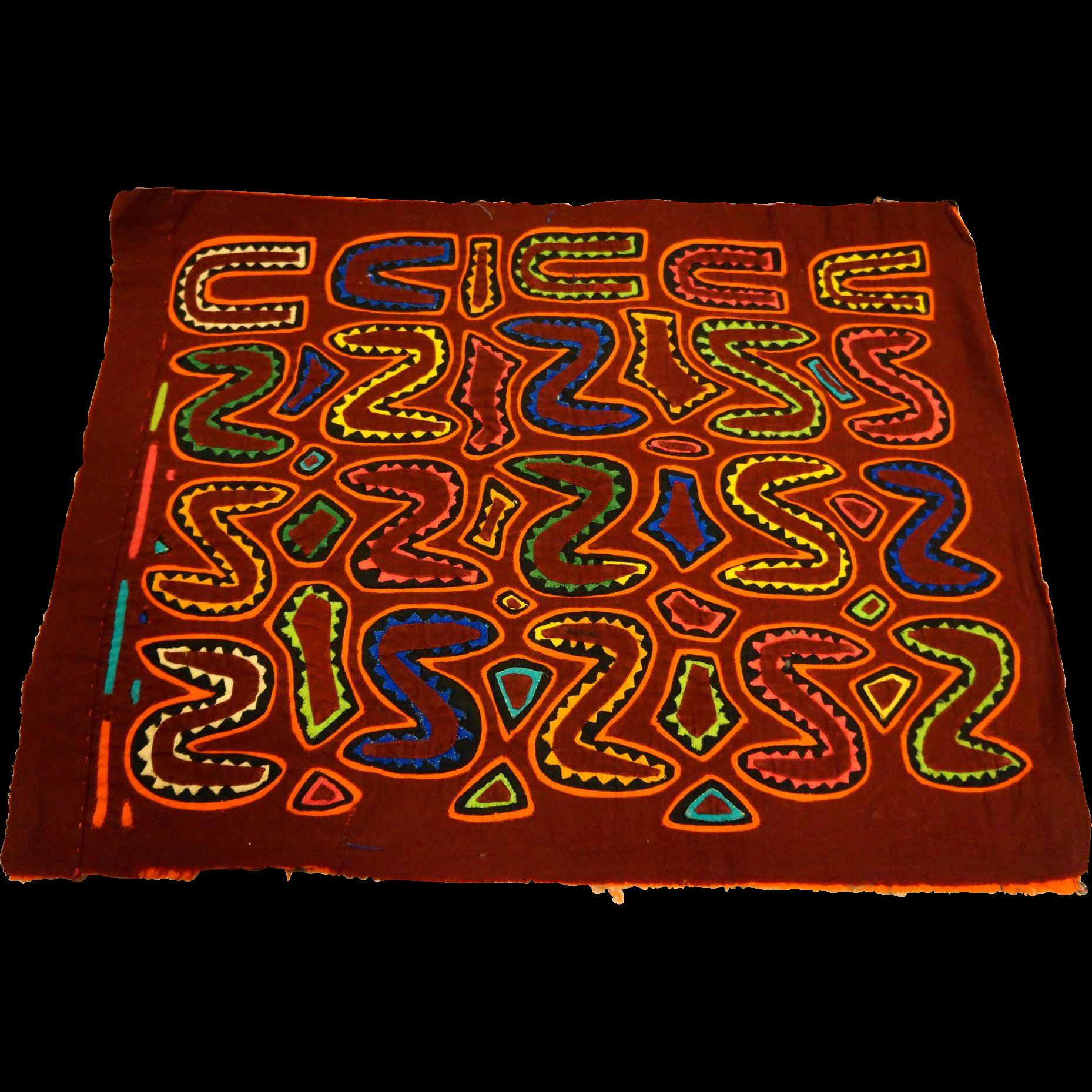Vintage Mola Reverse Applique Letters Panama Folk Art