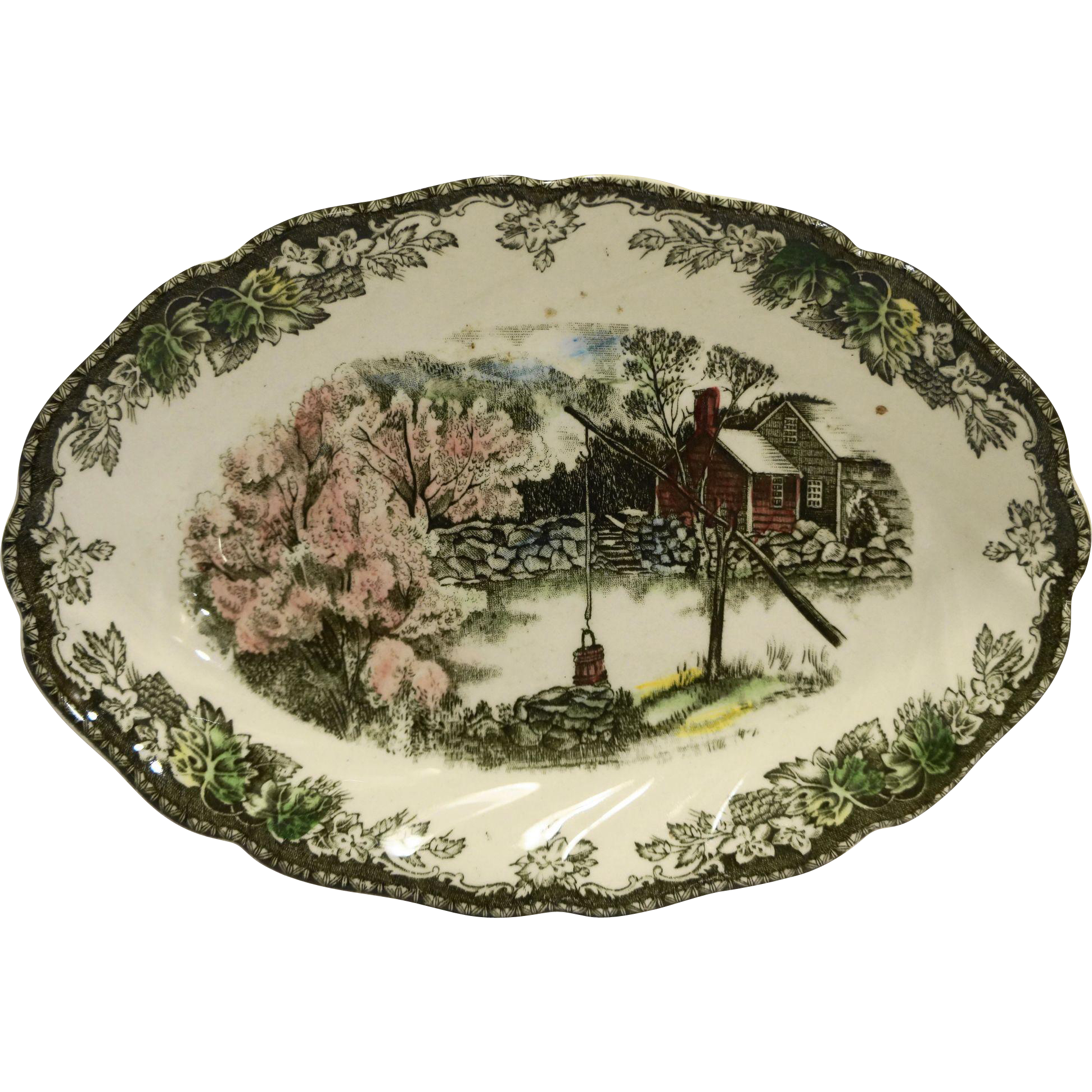 Johnson Bros England The Friendly Village The Well Gravy Underplate Relish Tray