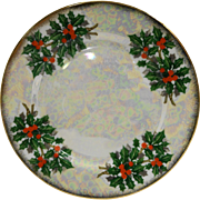 Flower of the Month December Holly Ucagco Porcelain Lustre Salad Plate 7 3/4 IN