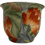 Orange Lotus Flowers Hand Painted Macau Made in China Flower Pot Planter Jardiniere