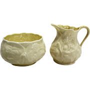Belleek Ireland Lotus Cream Sugar Pair Yellow Lustre Interior