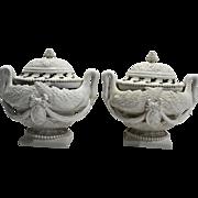 Luigi Zortea Bassano Style Urns Pair Pierced Lids Creamware Italy