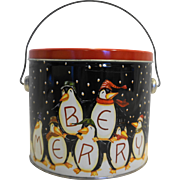 Becca Barton Be Merry Penguins Bucket Pail Tin