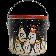 Becca Barton Be Merry Penguins Bucket Pail Tin