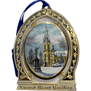 Notre Dame Sacred Heart Basilica 1997 Porcelain Christmas Ornament No Box