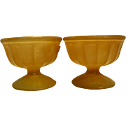 Orange Paint Ribbed Glass Sherbets Pair