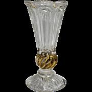 EAPG Small Trumpet Vase Gold Swirl Stem Oval Panels