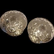 Rolled Rim Wheel Cut Elegant Depression Glass Candle Holders