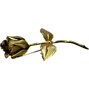 Gold Tone Rose Giovanni Signed Pin Brooch