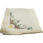 Linen Embroidered Napkin Floral Single