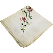 Red White Embroidered Roses White Cotton Handkerchief