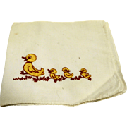 Yellow Ducks Embroidered Hanky Handkerchief