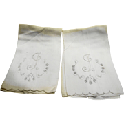 White Cotton J Monogram Embroidered Napkins Pair
